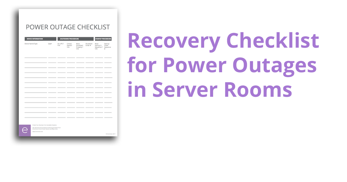 Download The Server Room Power Outage Checklist Enviromon